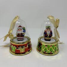 Mr. Christmas Musical Glass Globe Ornaments Set Of 2 Santa Claus and Nutcracker