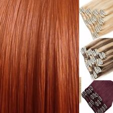"""Clip In Hair Extensions Blonde Highlights Brown Red Auburn 15-22"""" feels human"""