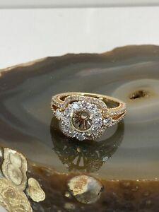 Fits 6-6.5mm 18k gold diamond ring semi mount 1ctw size 6.75