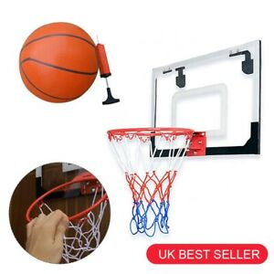 Door Wall Basketball Hoop Net Board Mini In/Outdoor Ball Pump Set Backboard Game