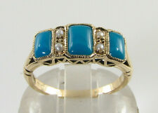 DIVINE 9K 9CT GOLD PERSIAN TURQUOISE PEARL ART DECO INS BAND RING FREE RESIZE