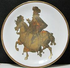Vintage Cavalieri gold rim Medieval King Shetland China Plate - Made in Italy