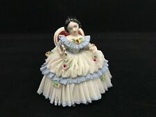 Vintage Dresden Porcelain White & Blue Lace Figurine Of Lady In Chair With A Fan