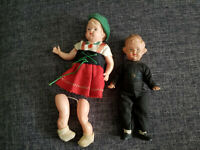 LOT OF 2 VINTAGE SCHILDKROT TUTRTLE MARK CELLULOID BOY & GIRL GERMAN DOLLS