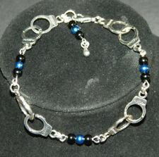Pearl Silver Handcuffs Charm Bracelet : Police Thin Blue Line : YOU PICK COLORS