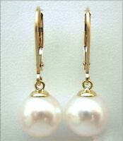 10-11MM AAA PERFECT ROUND white south sea pearl earrings 14K SOLID GOLD MARKED