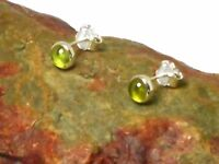 Round  PERIDOT  Sterling  Silver  925  Gemstone  STUD Earrings -  4 mm  - Boxed