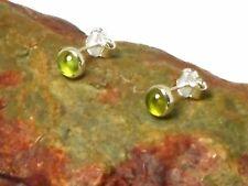 PERIDOT   Sterling  Silver  925  Gemstone  Earrings / STUDS  -  4 mm  -  Boxed