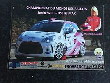 CP POSTCARD CARTOLINA CITROEN DS3 CHARLOTTE DALMASSO RALLYE 2015 RALLY WRC