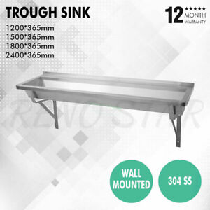4 Sizes Trough Sink Stainless Steel Centre Outlet Wall Bracket for School Public