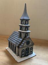 Vintage Byron Molds 1979 Ceramic White Gray Blue Church Christmas Village Set