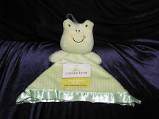 New Cuddle Time Green Frog Security Blanket Lovey Rib Ribbed Cord Satin NWT