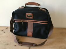 ANTLER TRAVEL LUGGAGE CABIN CASE / VANITY BAG BLACK CANVAS BROWN FAUX LEATHER