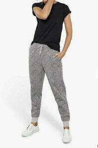 BNWT Mint Velvet Leopard Print Cotton Blend Joggers Black Grey Size UK 10 R