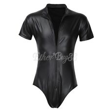 #XL Black Mens Lingerie Patent Leather Zipper One-piece Leotard Bodysuit Underwe