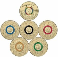 2016 $2 Olympic Coins - Coloured RED BLACK BLUE YELLOW GREEN PARALYMPICS - UNC