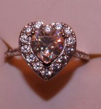 & Zircon Wedding Style Ring Size 6 10Kt Wg 2.40 Ctw Heart Strontium Titanate