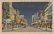 1939 Night View of Main Street Business Section Looking South in Mansfield, Ohio