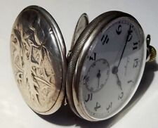 LONGINES POCKET OPEN FACE WATCH SILVER AND GOLD FILLED CASE SCENE FLOWERS