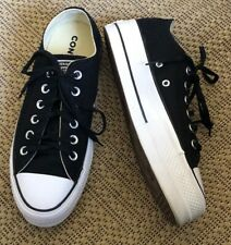 Converse Chuck Taylor All Star Black Platform Shoes Size 8 Paid $130.00