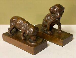 Bronze Bookends Terrier Dogs Puppies EB Parsons Figure Sculpture Artist Signed