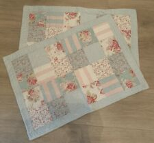 Shabby Chic 2 Patchwork Quilted Pillow Shams pale blue pink floral gingham