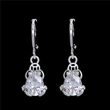 Novel Unique Cubic Zirconia Frog Dangle Earrings 18K White Gold Plated Ear Hoop