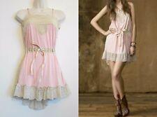 RALPH LAUREN Dress Denim & Supply PINK BoHo Hi-Lo Size XXS Victorian Lace Trim