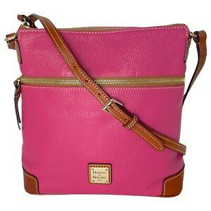 Dooney & Bourke Pebble Grain Crossbody Shoulder Bag - Hot Pink w/ Tan Trim