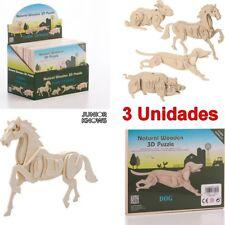 Pack 3 Unidades de Puzzle 3D educativo de Madera Animales de Granja, +3 Años