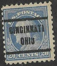1v0069 US Stamp 1920's 20 Cents Franklin Used Precancel Cincinnati  Ohio