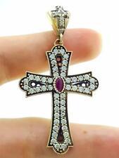 Handmade Ruby Holy Cross Pendant 925 Sterling Silver Turkish jewelry P1852