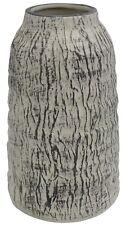 Grey & White Flower Vase Rippled Stone Effect Design 19cm Tall Ceramic Vase