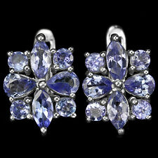 Sterling Silver 925 Genuine Natural Blue Violet Tanzanite Stud Cluster Earrings