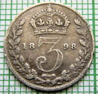 GREAT BRITAIN QUEEN VICTORIA 1898 3 PENCE THREEPENCE, SILVER