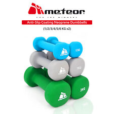 METEOR 0.5-6kg Anti-Slip Dumbbell Pair Cast Iron Weight Lifting Home Gym Fitness