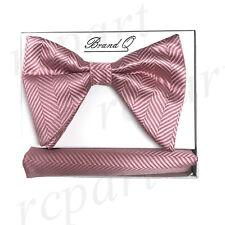 New in box formal Men Pre-tied long style patterned Bow tie & Hankie Pink
