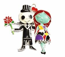 """Nightmare Before Christmas Jack & Sally Pendant Necklace with 16"""" Chain"""