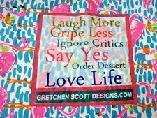 GRETCHEN SCOTT DESIGNS COTTON TOTE BAG FLAMINGOS LAUGH MORE LOVE LIFE 14 X 13