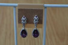 3.50ct Purple Topaz / Rhodolite Garnet Earrings Platinum over Fine Silver