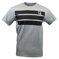 FILA Men's T-shirt -Athletic Sports Apparel- Black Stripes Athletic Heather Gray