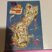 Sketch Map of Guam USA Greeting Card Chrome Vintage Postcard Unposted