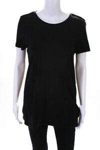 Burberry Brit Womens Cotton Jersey Beaded Short Sleeve Tee Black Size M