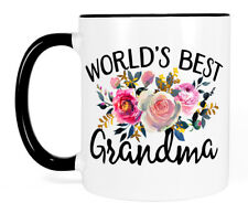 Floral World's Best Grandma Coffee Mug, Black and White Cup Cute Birthday Gift