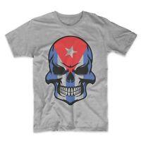 Cuban Flag Skull Cuba Skull Graphic T-Shirt - Men's Cuba Shirt