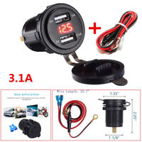 Car Motorcycle Boat Dual USB Charger Socket Power Outlet 3.1A Red LED Voltmeter