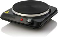 Ovente Electric Cast Iron Burner 7 Inch Single Hot Plate Compact Cooktop BGS101B
