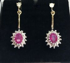 9ct Gold Halo Style Drop Earrings set with Rubies & Diamonds .2.69gra