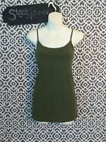 Time & Tru Green Scoop Neck Fitted Spaghetti Strap Cami Size XL