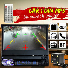 1DIN 7'' Touch Screen Car Stereo bluetooth Radio FM Mp3 Video Player+Rear Camera